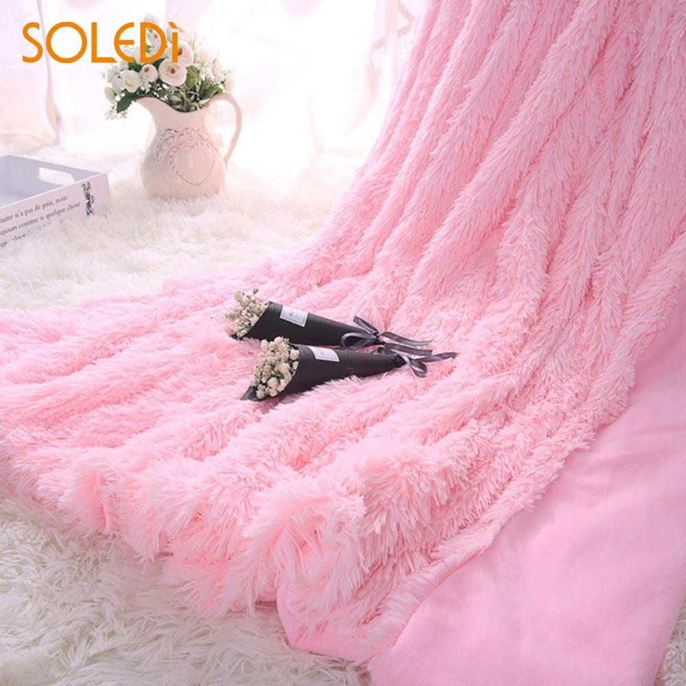 Fausse fourrure couverture jeter couverture Super doux garder Long Shaggy chaud couverture lit dormir cadeau de noël