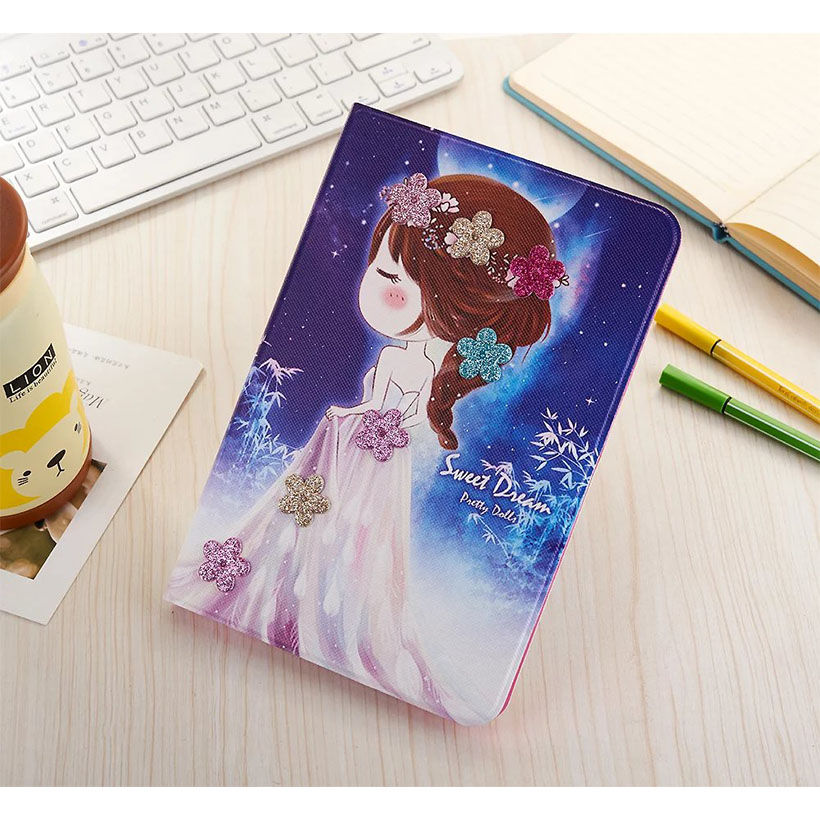 Cute Cartoon Girls PU Leather Ultra Slim Case for Ipad air 2 / air 1 ( Ipad 5 6 ) / Pro 9.7 For Ipad Mini 1 2 3 4 Stand Cover new luxury ultra slim silk tpu smart case for ipad pro 9 7 soft silicone case pu leather cover stand for ipad air 3 ipad 7 a71