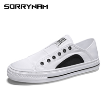 Mens Canvas Shoes Slip-On Laceless Sneaker Outdoor Skate Board Fashion Casual Driving Walking White