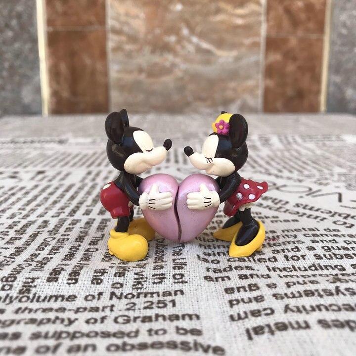 10 par para Mickey Minnie Mouse miłośników serca przytulić słodkie walentynki pcv Action Figures zabawki model kolekcjonerski lalki 5 cm w Figurki i postaci od Zabawki i hobby na AliExpress - 11.11_Double 11Singles' Day 1