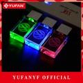 YUFANYF 2017 pendrive 3 cores Vermelho/azul/verde LED Volkswagen LOGOTIPO do carro falsh USB drive 4 GB 8 GB 16 GB 32 GB U Disco de cristal presente