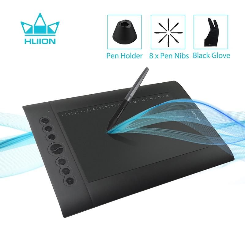 HUION H610 PRO V2 más reciente de la tableta gráfica profesional Digital dibujo de la pluma de la tableta con la batería-pluma gratis función de inclinación 8192 los niveles de