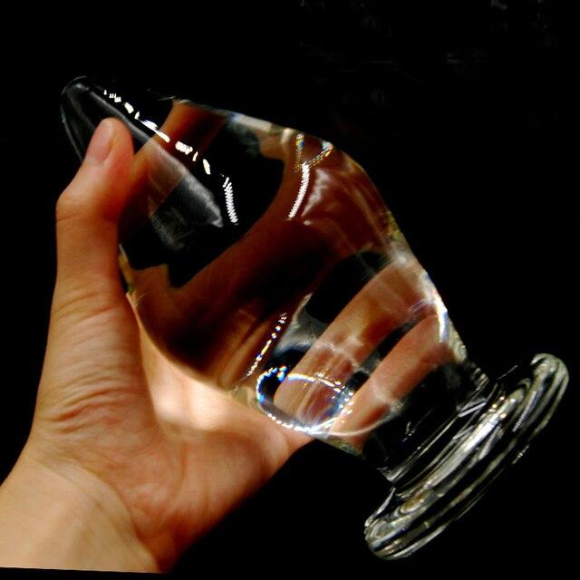 Водонепроницаемый супер Большой 16*8 см Pyrex Стекло Фаллоимитатор Кристалл Пенис Длиной стекло Секс Игрушки Большой Anal Plug Butt Бусы Унисекс Анус шары