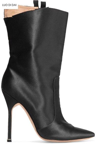 Talon Mince Bout Noire Femmes Pointu Bottines Soie Mode Bottes Soirée Haute 2019 Habillées Chaussons De Noir Chaussures wPSCfvxAq