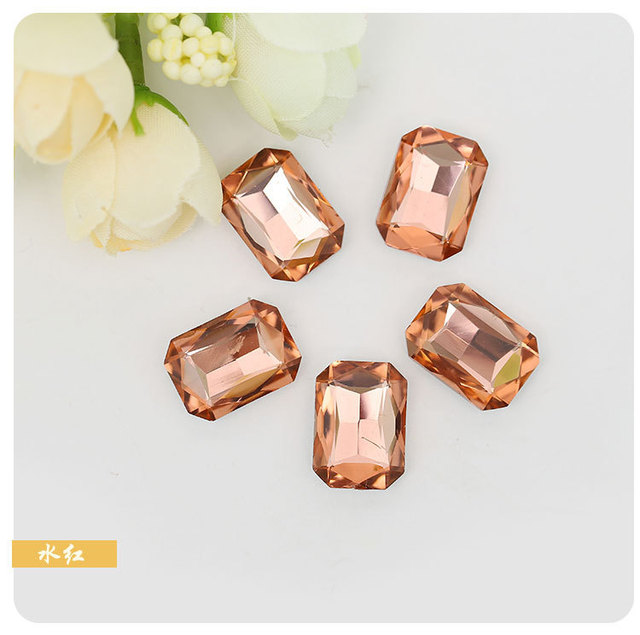 DIY Wedding dress jewelry accessories Water red rectangle Eight corners Pointed  bottom glass crystal rhinestones 50pcs packs 735aa2e1a2c4