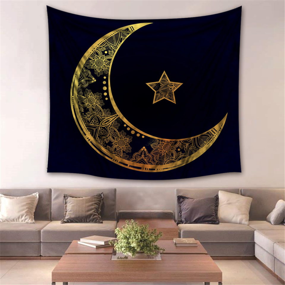 Home Decoration Moon Star Tapestry Black Beach Towel India Mandala Apolo Tapestries 2018 New Factory Supply Direct Wholesale