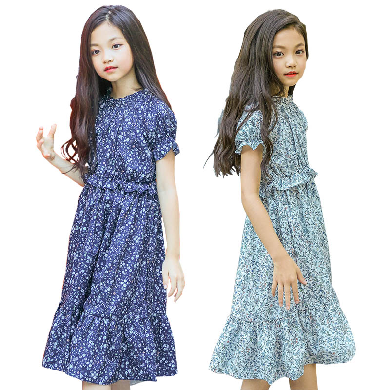 2018 Summer Girls Dresses Cute Baby Girls Floral Long Princess Dress Children clothes Casual Cotton Beachwear Dress kids 6-15T db4368 davebella spring new girls cotton floral dress princess dress children boutique dress sakura dress