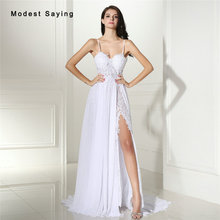 Sexy Sheer Split White Beach Beaded Lace Wedding Dresses 2017 with Straps Ivory Women Long Reception Bridal Gowns robe de mariee