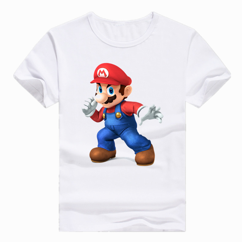 Asian Size Print Anime Super Mario Bros Game T-shirt Short Sleeve O-Neck Casual Tshirt For Men And Women HCP426