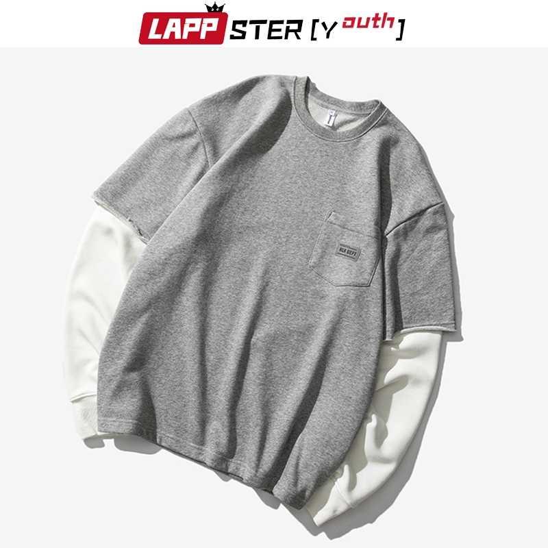 LAPPSTER 남자 패치 워크 힙합 후드 티 스웨터 2020 망 가짜 두 조각 한국 패션 까마귀 남성 Streetwear 회색 옷