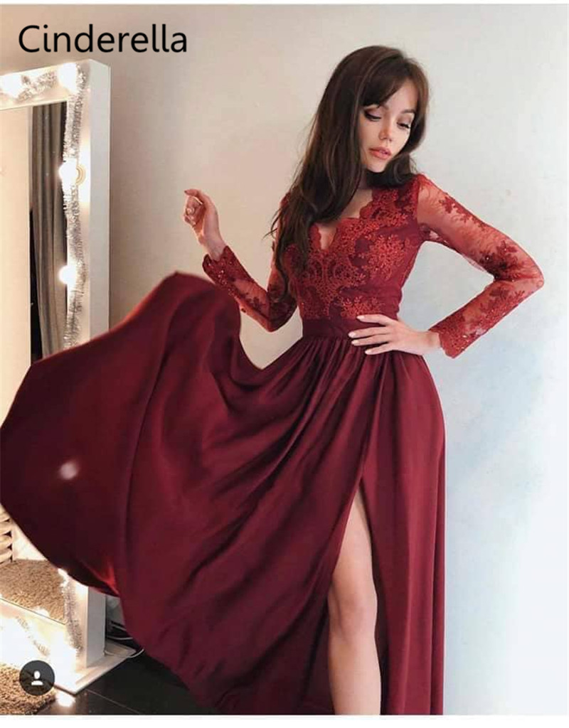 Cinderella V-Neck Long Sleeves A-Line Zipper Back Side Slit Lace Applique Chiffon   Evening     Dresses   vestidos de fiesta de noche