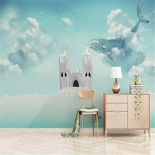 Custom 3D mural hand-painted dream whale castle children background wall decoration painting wallpaper photo