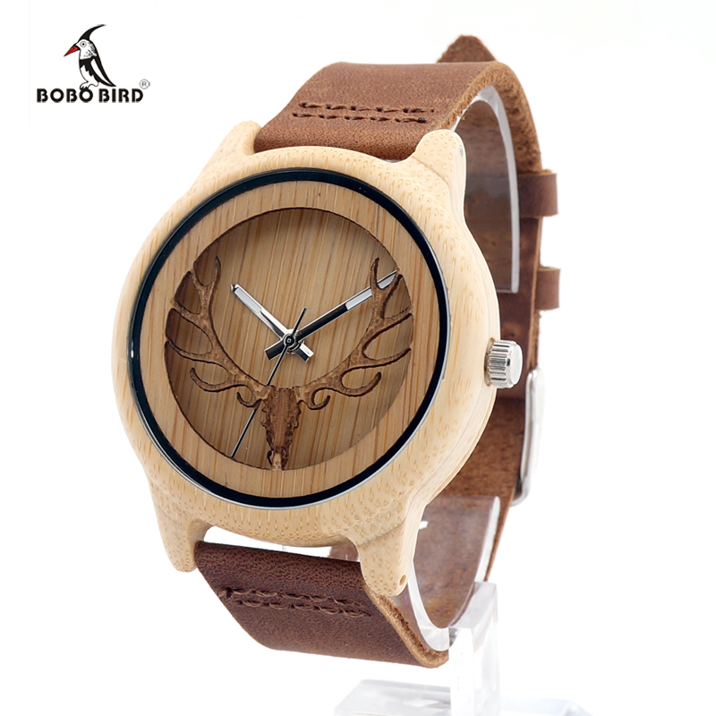BOBO BIRD Hollow Buck Head Bamboo Wooden Watches With Genuine Leather Band Men Women Luxury Bamboo