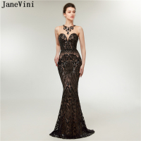 JaneVini Bling Black Sequined Long Bridesmaid Dresses Mermaid O Neck Sleeveless Formal Party Gowns Floor Length Vestitini Donna