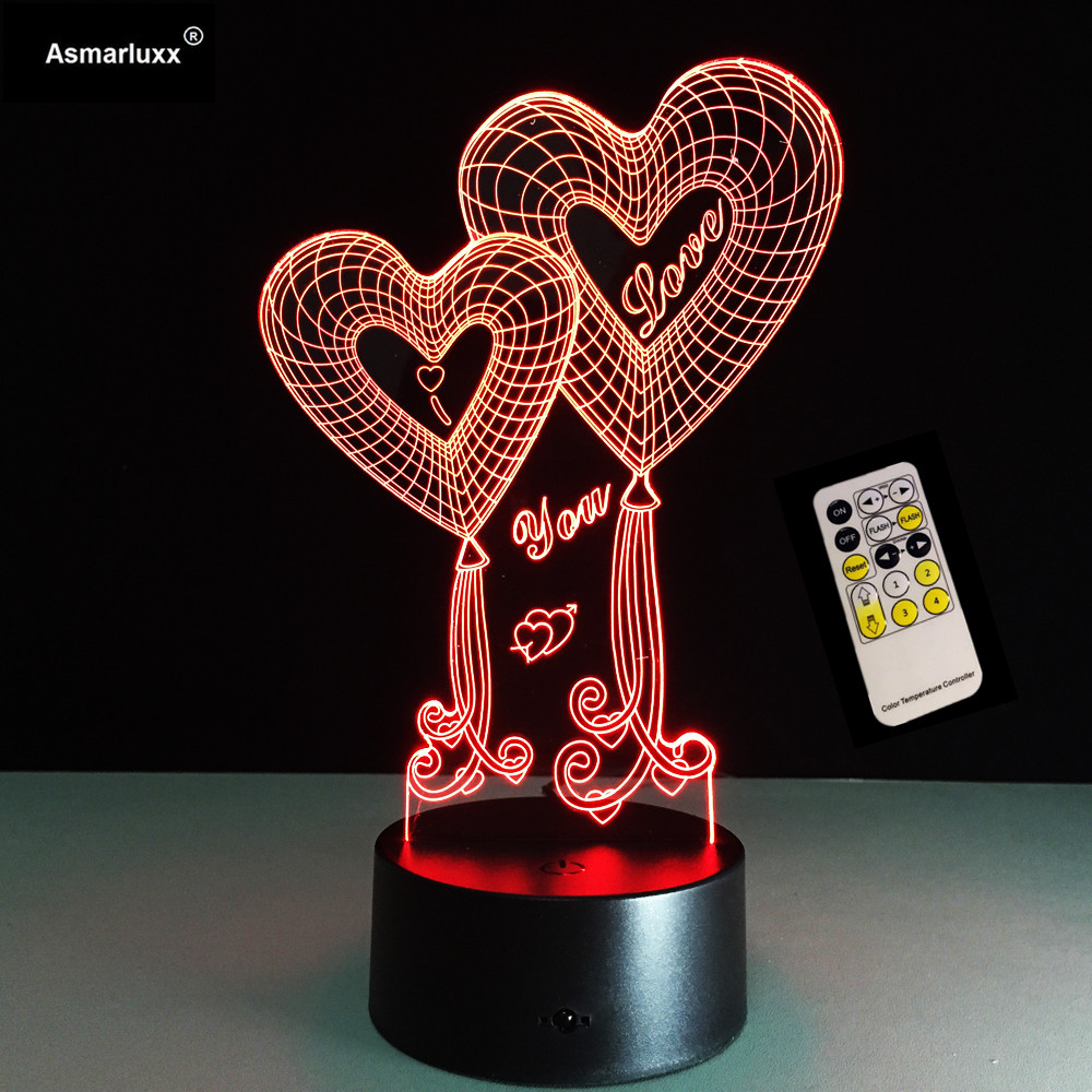 Valentine's Day Gift Shop 4 Love Best Deals For Love 3D Heart LED Night Light With 3D luminous Touch Remote Control Table Lamp