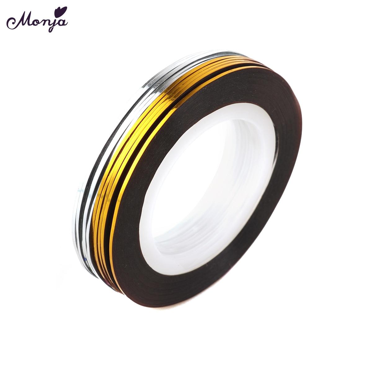 Gold Striping Tape Nail Art: Monja 10 Rolls 1mm Nail Art Silver+Gold Self Adhesive