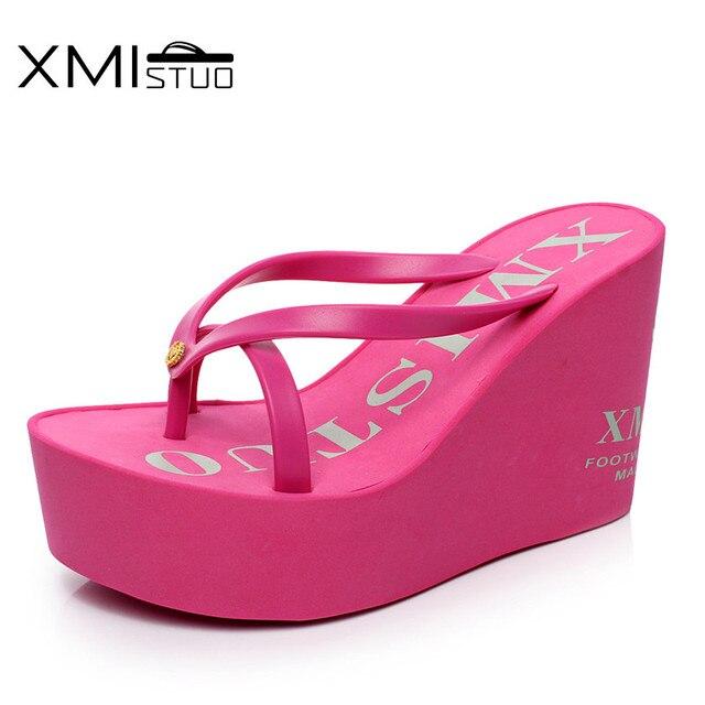 f0333d9fce6 XMISTUO Fashion Women Flip Flops Female Summer Beach Wedges Water-resistant 12cm  Super High-heeled Slippers 4 Color 7041