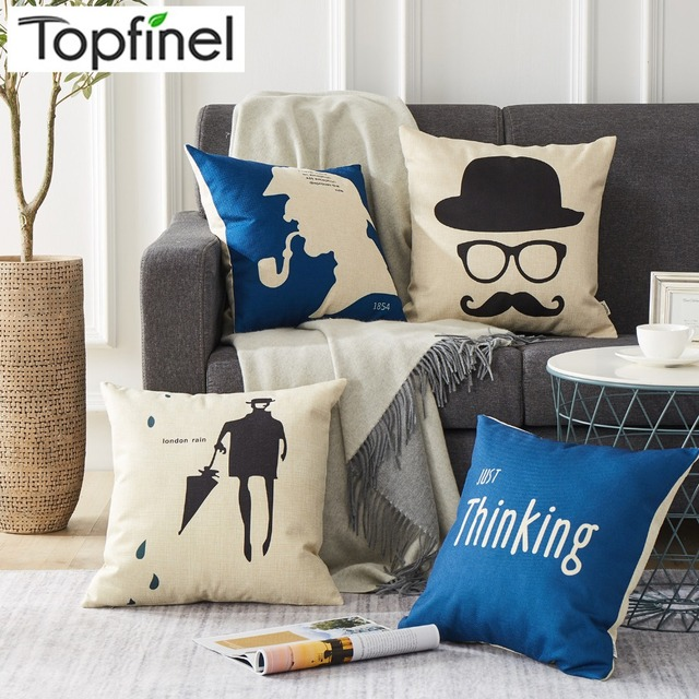 pillow covers for living room english country rooms images topfinel cotton linen cushion cover cheap blue puff sofa seat chair decorative throw cases nordic