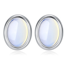 Fashion Round Opals Stone Simple 925 Sterling Silver Ladies Stud Earrings Jewellery For Women Luxury Gift Drop Shipping