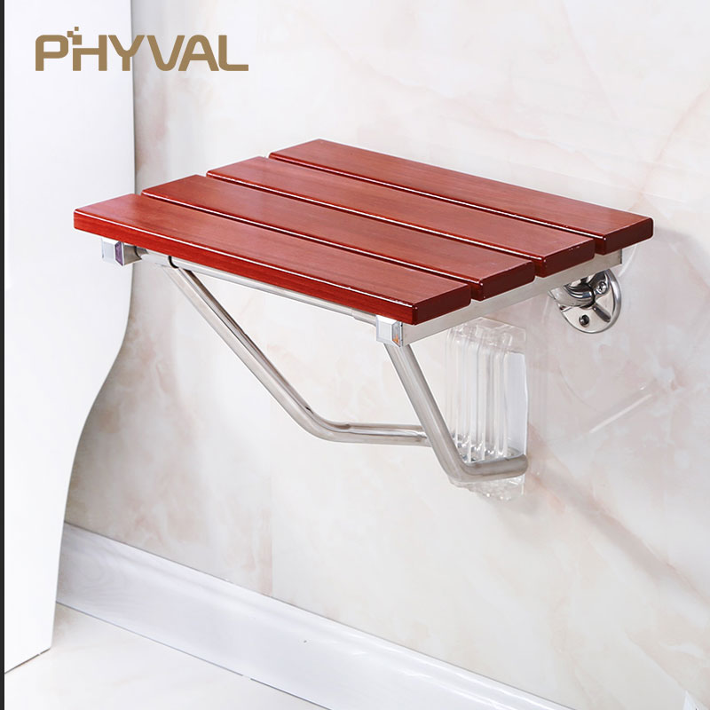 Wall Mounted Shower Seat Wood Bench Shower Folding Seat Bath bathroom Stool Commode Toilet Chairs Old Pregnant Women Children