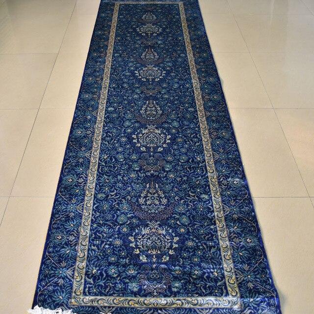 Extrem Mingxin 2.5x9 pieds bleu couleur couloir tapis noués à la main  DV19