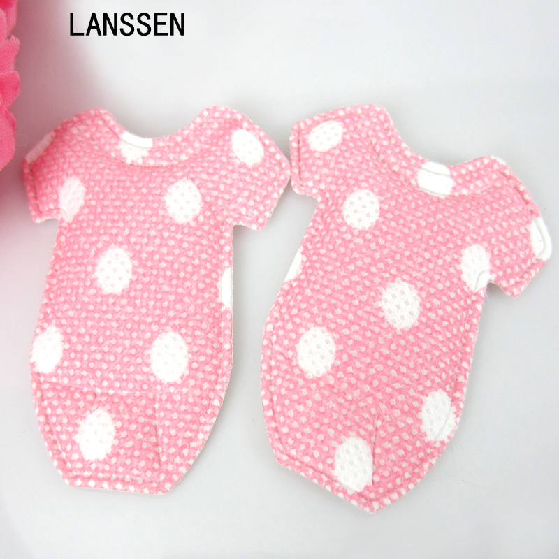 24pcs Baby Padded Onesies Applique Baby Shower Favors Pink Girl/ trim/Craft/ Party Decorations 5.0cm