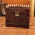 Большой деревянный шкатулка с винтажным рисунком  косметический чехол с замком  настольный туалетный ящик для хранения с зеркалом