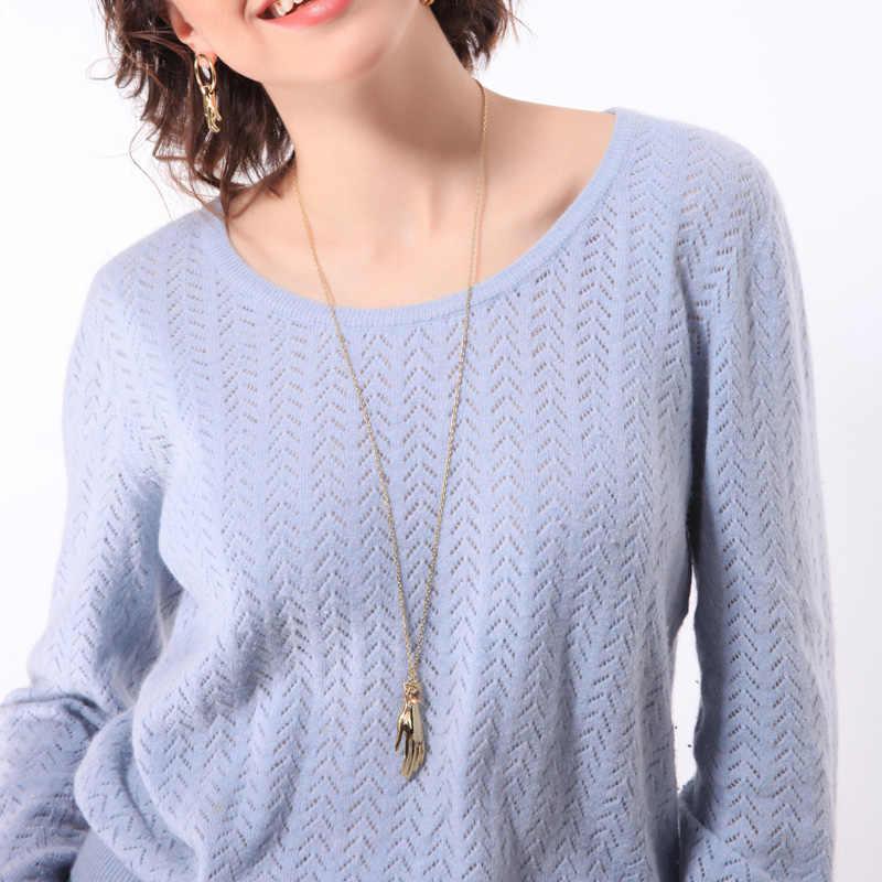 キス私ロングネックレスゴールドカラーセーターチェーンクリスタルハンドネックレスペンダント女性ジュエリーアクセサリー