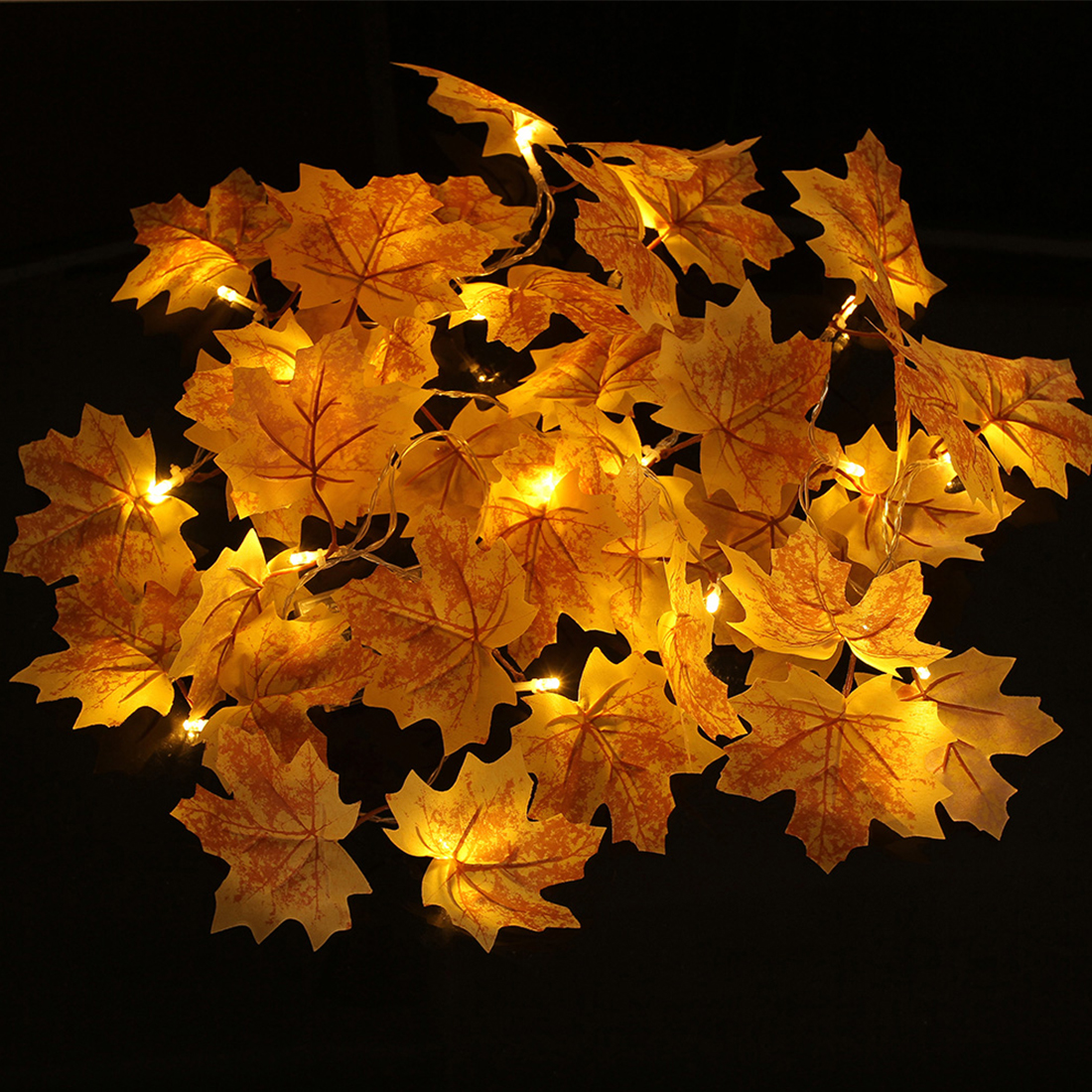 New Maple Leaves Fairy Light Mixed Color Orange Yellow Leaf Autumn String Lights 20LED Fall Indoor Decoration Battery Operated