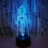Dragon Ball Z Vegeta Colorful 3D Visual Table Lamp LED Touch Lamp Creative USB Chameleon Night Light