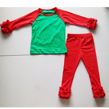 Christmas outfits dress children Christmas clothing set for girls wholesale Christams Santa icing t-shirts+ icing ruffle legging