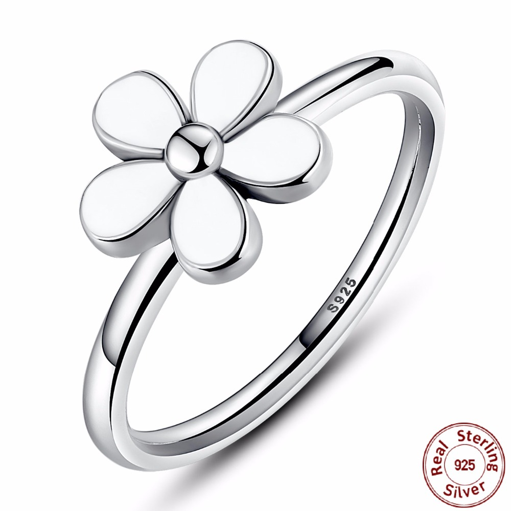 White Flower Silver Ring