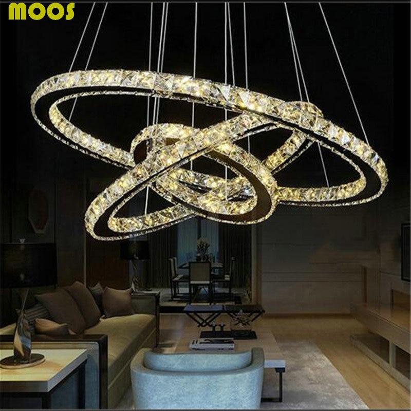 Modern Crystal LED Pendant Lights Fixtures For Living Room Dining Kitchen Lustre De Cristal Ceiling