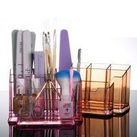Nail Desktop Storage Case Transparent Scissors Polish Jewelry Pen Brushes Box Container Manicure Nail Desktop Tool