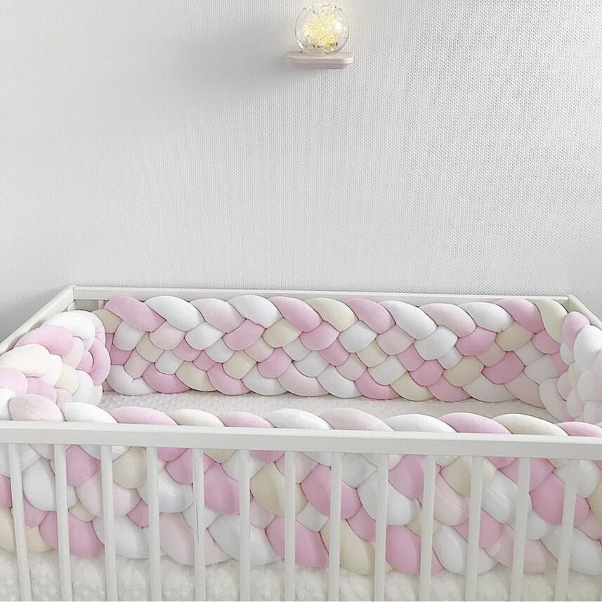 Baby Bed Bumper 2.2M Extra 21CM Height Width Long Knotted Braided Newborn Cot Crib Fencing Pad Protect Knot Bedding Infant Decor