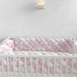 Baby Bett Stoßstange 2,2 M Extra 21CM Höhe Breite Lange Verknotet Geflochtene Neugeborenen Babybett Krippe Fechten Pad Schützen Knoten bettwäsche Infant Decor