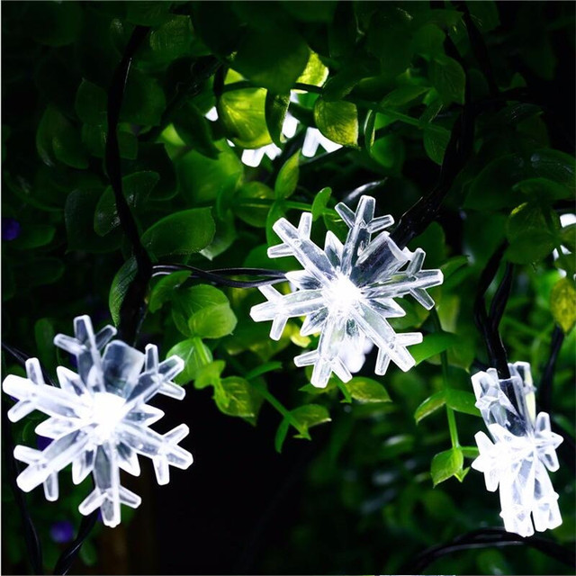 New Arrive 20 LED SnowFlake Flowers Solar String Fairy Lights Waterproof Outdoor  Solar String Lights Decorated