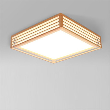 Natural wood living room lamp Japanese style led ceiling lights square lamp home decoration bedroom lighting fixture