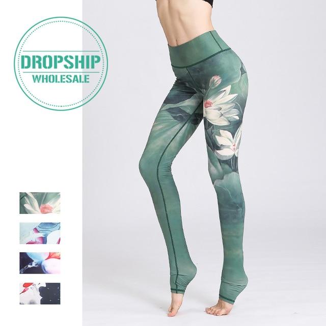 2019 Gym Women Fitness Yoga Pants Slim High waist Sport Leggings Elastic Romantic Printed Long Tights for Running Tummy Control 1