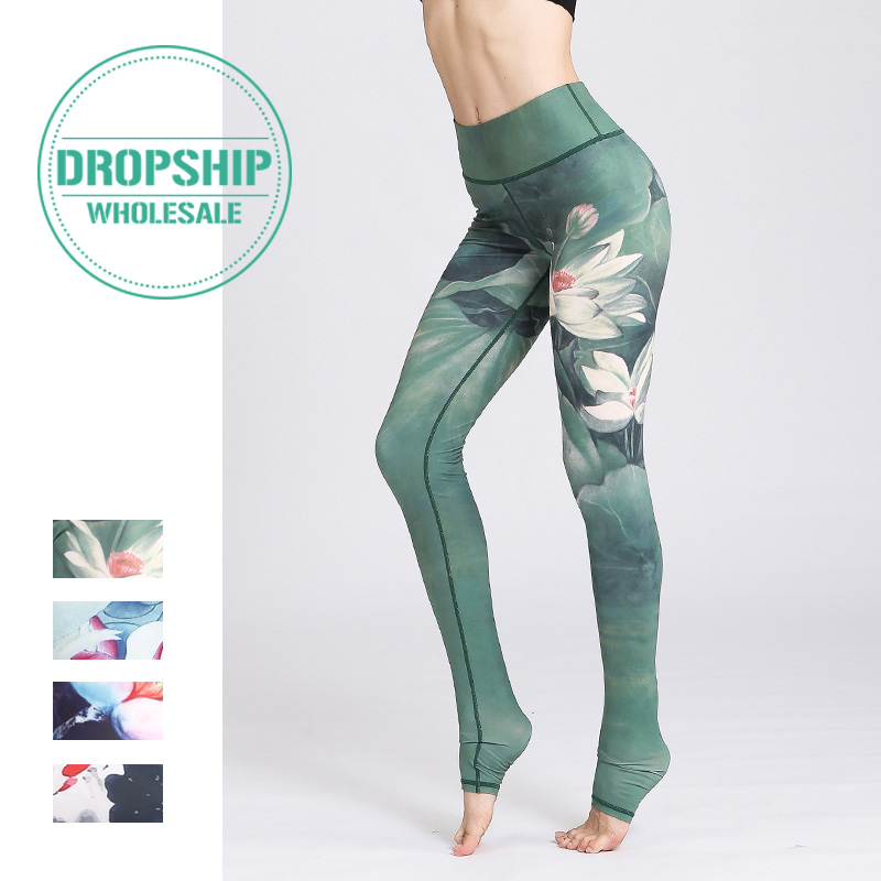2019 Gym Women Fitness Yoga Pants Slim High waist Sport Leggings Elastic Romantic Printed Long Tights for Running Tummy Control