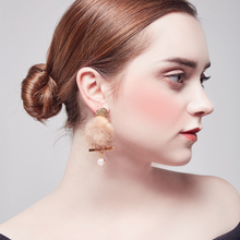 2018 New fashion mink ball earrrings for woman in stud post gold shiny Plated  pearl Earrings drop party wholesale jewelry
