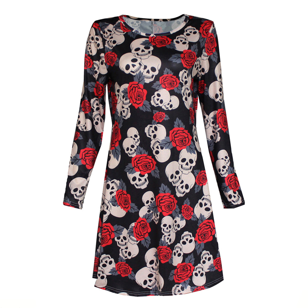 Feitong Elegant 2018 New Woman Bloues Casual New Womens Ladies Halloween Skull Long Slee ...