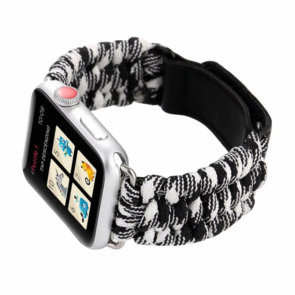 Nylon watch bands for apple watch band 44mm for apple watch 4 strap Bracelet for iWatch 1 2 3 38mm 42mm for apple watch 40mm in Watchbands from Watches