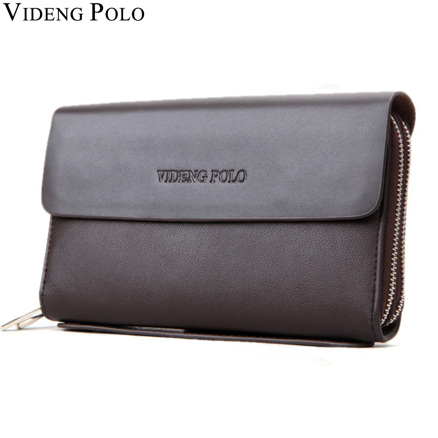 VIDENG POLO Famous Brand Men Wallet Luxury Long Clutch Handy Bag Moneder Male Leather Purse Men's Clutch Bags carteira Masculina 2016 famous brand new men business brown black clutch wallets bags male real leather high capacity long wallet purses handy bags