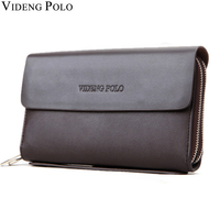 VIDENG POLO Famous Brand Men Wallet Luxury Long Clutch Handy Bag Moneder Male Leather Purse Men