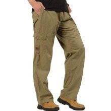 Армейские военные тактические брюки для мужчин размера плюс с большими карманами армейские брюки-Карго повседневные хлопковые прямые брюки XL-6XL