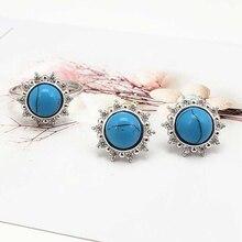 Ruifan Европейский синий Естественный бирюзовый камень 925 пробы серебряные серьги/Кольцо Ювелирные наборы для женщин Ювелирный Набор YJS031