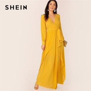 Image 4 - فستان ماكسي نسائي من SHEIN مزود بحزام ذاتي من الخردل ، فستان حفلات برقبة عالية وخصر على شكل V ، فساتين طويلة للسيدات ربيعية بأكمام طويلة