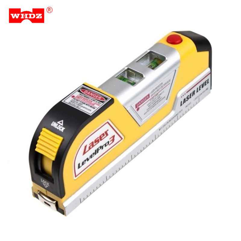 WHDZ LV02 Multifunction Portable Laser Level Horizontal Vertical Line Measure Tape 8FT Aligner Multipurpose Ruler Measuring Tool elecall em5416 200 high quality multipurpose level with bubble laser horizon vertical measure tape the horizontal ruler