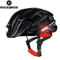 ROCKBROS Cycling Light Helmet Waterproof USB Rechargeable Integrally molded MTB Road Bicycle Bike 3 Modes Helmet Safe Helmets